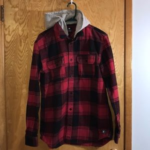 DC Hooded Plaid Shirt
